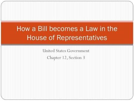 How a Bill becomes a Law in the House of Representatives
