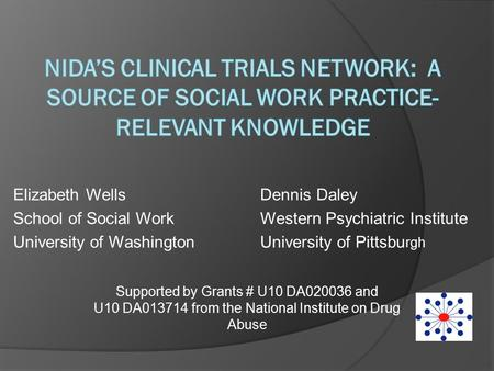 Elizabeth WellsDennis Daley School of Social WorkWestern Psychiatric Institute University of WashingtonUniversity of Pittsbu rgh Supported by Grants #
