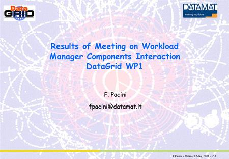 F.Pacini - Milan - 8 May, 2001 - n° 1 Results of Meeting on Workload Manager Components Interaction DataGrid WP1 F. Pacini