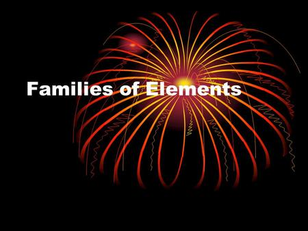 Families of Elements. Alkali Metals Alkali Metal Family Group 1 Li, Na, K, Rb, Cs, Fr Properties Physical Soft, silvery-white Low melting point Chemical.