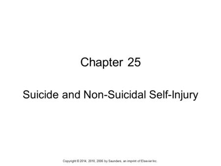 Suicide and Non-Suicidal Self-Injury