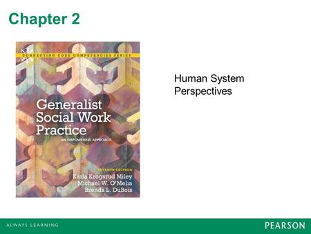 Chapter 2 Human System Perspectives. Theoretical Frameworks for Practice Theories about human systems Theories and models of change No one practice framework.