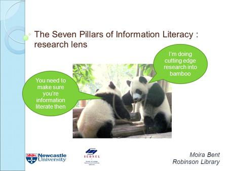 The Seven Pillars of Information Literacy : research lens Moira Bent Robinson Library I'm doing cutting edge research into bamboo You need to make sure.