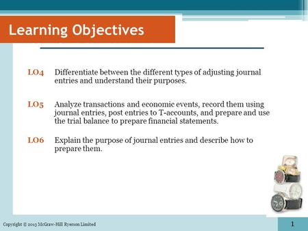 1 Copyright © 2013 McGraw-Hill Ryerson Limited LO4 Differentiate between the different types of adjusting journal entries and understand their purposes.