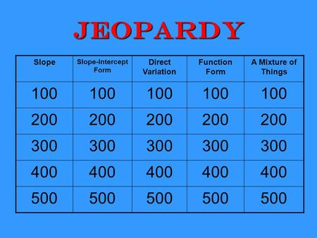 Jeopardy Slope Slope-Intercept Form Direct Variation Function Form A Mixture of Things 100 200 300 400 500.