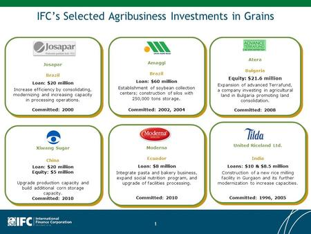 1 IFC's Selected Agribusiness Investments in Grains Atera Bulgaria Equity: $21.6 million Expansion of advanced Terrafund, a company investing in agricultural.