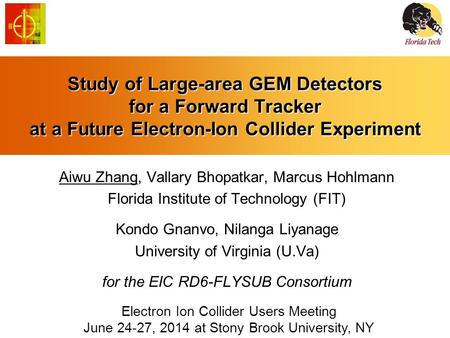 Study of Large-area GEM Detectors for a Forward Tracker at a Future Electron-Ion Collider Experiment Aiwu Zhang, Vallary Bhopatkar, Marcus Hohlmann Florida.