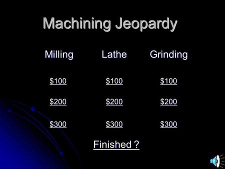 Machining Jeopardy MillingLatheGrinding $100 $200 $300 Finished ? Finished ?