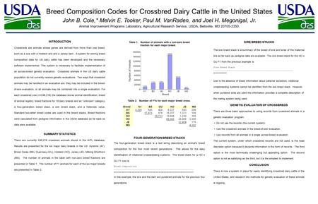 Breed Composition Codes for Crossbred Dairy Cattle in the United States John B. Cole,* Melvin E. Tooker, Paul M. VanRaden, and Joel H. Megonigal, Jr. Animal.