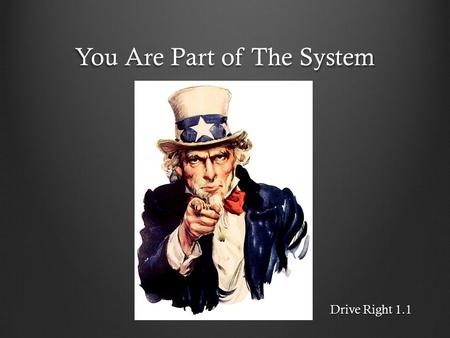 You Are Part of The System Drive Right 1.1. The Highway Transportation System (HTS) Drivers Passengers Pedestrians Cyclists.