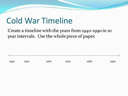 Cold War Timeline Create a timeline with the years from 1940-1990 in 10 year intervals. Use the whole piece of paper. 1940 19501960 1970 19801990.