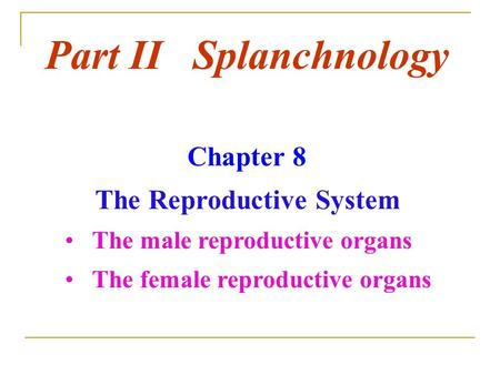 Part II Splanchnology Chapter 8 The Reproductive System The male reproductive organs The female reproductive organs.