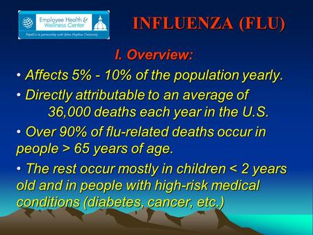 INFLUENZA (FLU) INFLUENZA (FLU) I. Overview: Affects 5% - 10% of the population yearly. Affects 5% - 10% of the population yearly. Directly attributable.