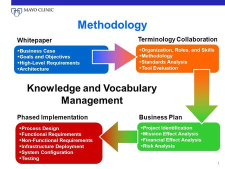 1  Organization, Roles, and Skills  Methodology  Standards Analysis  Tool Evaluation Terminology Collaboration Business Plan  Project Identification.