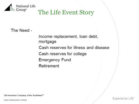 Life Insurance Company of the Southwest™ 00000 MK00000(0000) TC00000 The Life Event Story The Need - Income replacement, loan debt, mortgage Cash reserves.