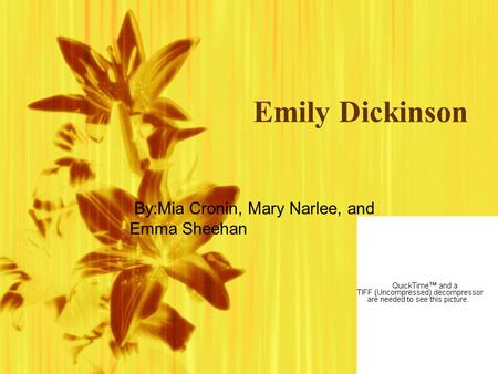 Emily Dickinson By:Mia Cronin, Mary Narlee, and Emma Sheehan.