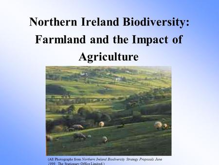 Farmland and the Impact of Agriculture Northern Ireland Biodiversity: (All Photographs from Northern Ireland Biodiversity Strategy Proposals June 1999.