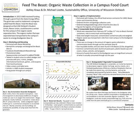 Feed The Beast: Organic Waste Collection in a Campus Food Court Introduction: In 2012 UWO received funding through a grant from the State Energy Office.