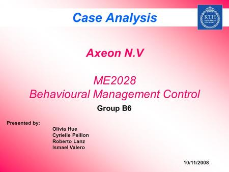 Axeon N.V ME2028 Behavioural Management Control
