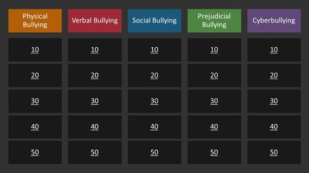 Physical Bullying 10 20 30 40 50 Verbal Bullying 10 20 30 40 50 Social Bullying 10 20 30 40 50 Prejudicial Bullying 10 20 30 40 50 Cyberbullying 10 20.