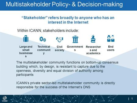 "| 1 ""Stakeholder"" refers broadly to anyone who has an interest in the Internet Within ICANN, stakeholders include: The multistakeholder community functions."