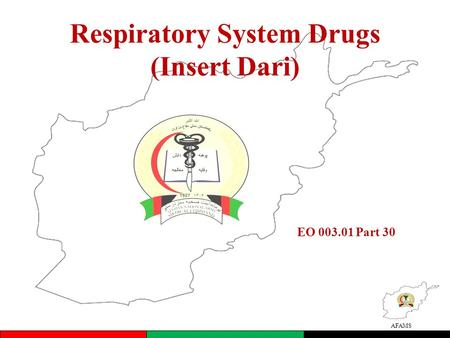 AFAMS Respiratory System Drugs (Insert Dari) EO 003.01 Part 30.