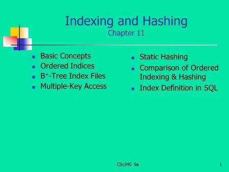 Indexing and Hashing Chapter 11 Basic Concepts Ordered Indices B + -Tree Index Files Multiple-Key Access Static Hashing Comparison of Ordered Indexing.