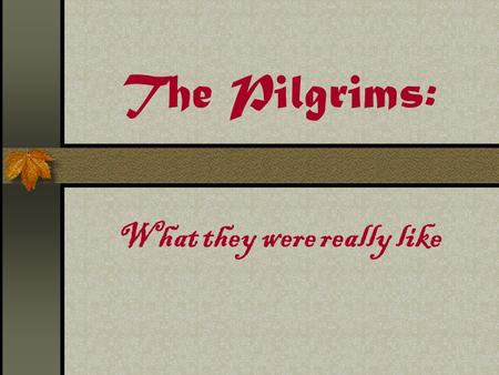The Pilgrims: What they were really like. True or False The pilgrims wore only black, gray, and white clothing and buckles on their shoes. The pilgrims.