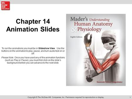 1 Chapter 14 Animation Slides Copyright © The McGraw-Hill Companies, Inc. Permission required for reproduction or display. To run the animations you must.