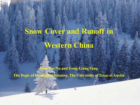 Diagram for the model structures Snow Cover and Runoff in Western China Guo-Yue Nu and Zong-Liang Yang The Dept. of Geological Sciences, The University.