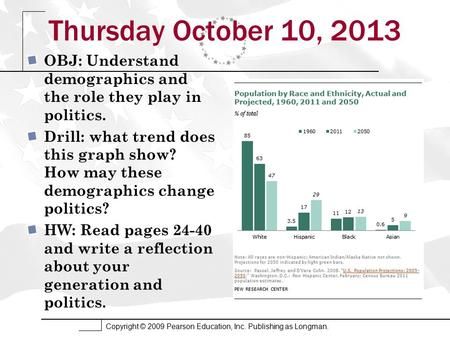 Copyright © 2009 Pearson Education, Inc. Publishing as Longman. Thursday October 10, 2013 OBJ: Understand demographics and the role they play in politics.