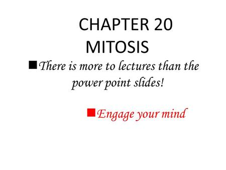 CHAPTER 20 MITOSIS There is more to lectures than the power point slides! Engage your mind.