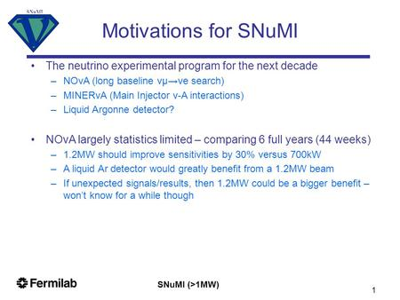 SNuMI (>1MW) SNuMI 1 Motivations for SNuMI The neutrino experimental program for the next decade –NOνA (long baseline νμ→νe search) –MINERνA (Main Injector.