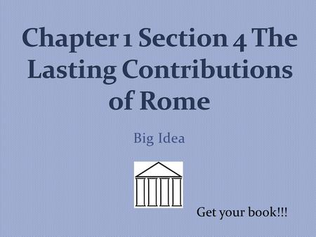 Big Idea Get your book!!!. Alias, alibi, camera, extra, focus, media, radius, and recipe. These are words that were created by the Romans. What other.