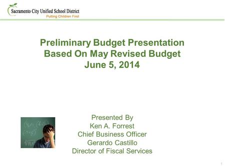 1 Preliminary Budget Presentation Based On May Revised Budget June 5, 2014 Presented By Ken A. Forrest Chief Business Officer Gerardo Castillo Director.