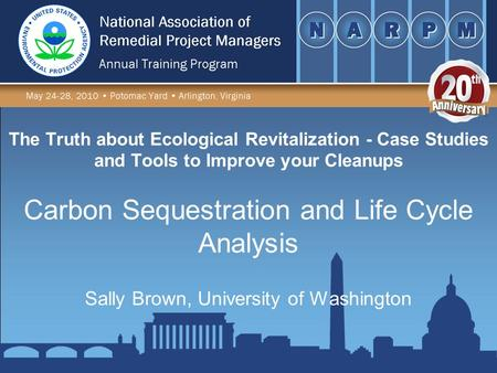 The Truth about Ecological Revitalization - Case Studies and Tools to Improve your Cleanups Sally Brown, University of Washington Carbon Sequestration.