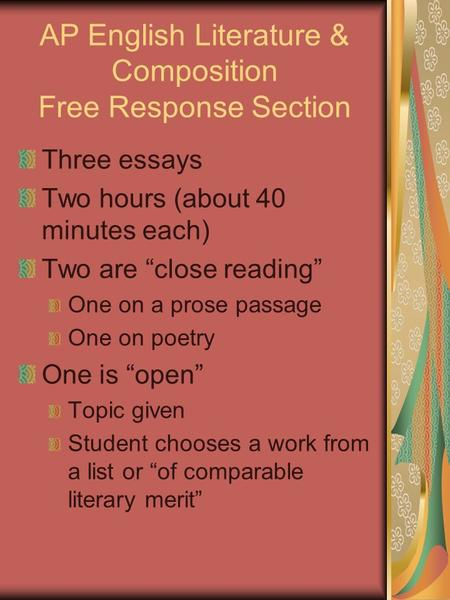 ap lit essay introduction 4 lessons in chapter 13: ap english: essay basics: types of essay 1 narrative essay ap english: literary analysis intro ap english: interpreting literature.