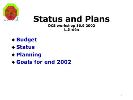 1 Status and Plans DCS workshop 16.9 2002 L.Jirdén u Budget u Status u Planning u Goals for end 2002.
