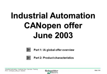 Slide 1/64 Industrial Automation - Customer View - Services - Training PhW - CANopen_offer_en 09/2003 Industrial Automation CANopen offer June 2003 Industrial.