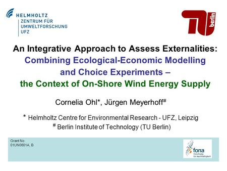 An Integrative Approach to Assess Externalities: Combining Ecological-Economic Modelling and Choice Experiments – the Context of On-Shore Wind Energy Supply.
