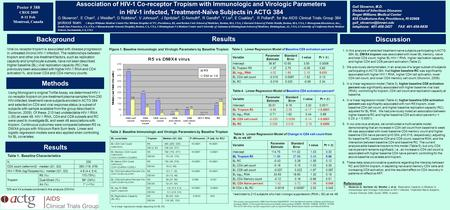 Poster # 388 CROI 2009 8-11 Feb Montreal, Canada Association of HIV-1 Co-receptor Tropism with Immunologic and Virologic Parameters in HIV-1 infected,