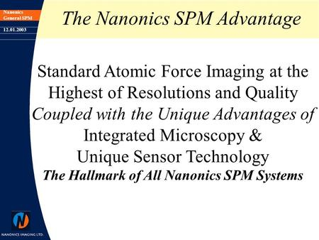Nanonics General SPM 12.01.2003 The Nanonics SPM Advantage Standard Atomic Force Imaging at the Highest of Resolutions and Quality Coupled with the Unique.