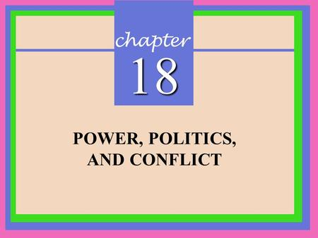 Chapter 18 POWER, POLITICS, AND CONFLICT. CHAPTER 18 Power, Politics, and Conflict Copyright © 2002 Prentice-Hall Power and Politics Power: The ability.