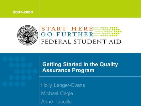 Getting Started in the Quality Assurance Program Holly Langer-Evans Michael Cagle Anne Tuccillo 2007-2008.