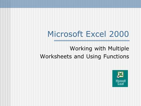 Microsoft Excel 2000 Working with Multiple Worksheets and Using Functions.