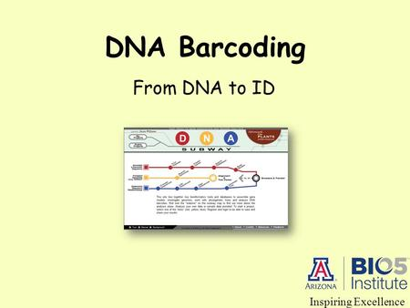 DNA Barcoding From DNA to ID Inspiring Excellence.