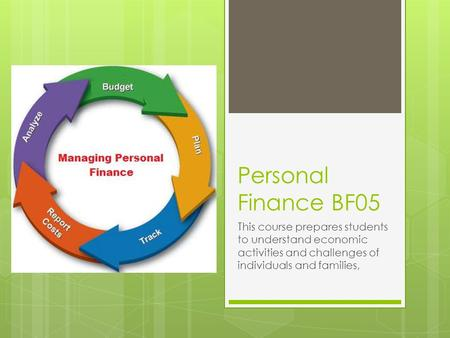 Personal Finance BF05 This course prepares students to understand economic activities and challenges of individuals and families,