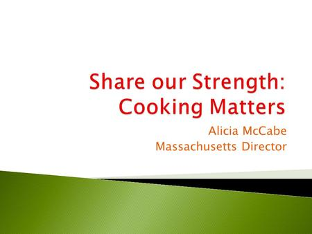 Alicia McCabe Massachusetts Director.  Began in 1993  Taught a group of families how to prepare tasty, healthy meals on a tight budget  Has grown to.