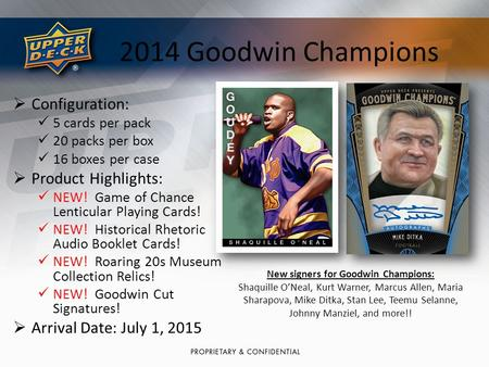 2014 Goodwin Champions  Configuration: 5 cards per pack 20 packs per box 16 boxes per case  Product Highlights: NEW! Game of Chance Lenticular Playing.