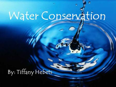 By: Tiffany Hebets Water Conservation. Water is very important to everyday life, so we have to save every drop that we can.Water is very important to.
